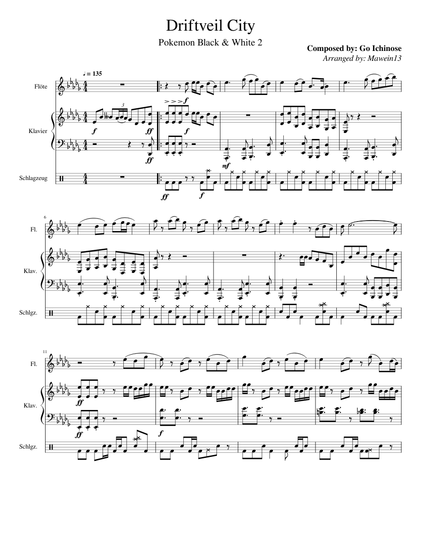 Driftveil City Sheet Music For Piano Flute Drum Group Mixed Trio Musescore Com It is popularly used in fan videos featuring the song and as a source for mad and ytpmv. driftveil city sheet music for piano