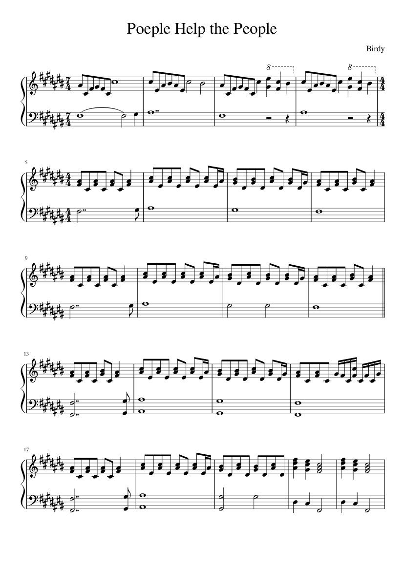 People help the People - Birdy sheet music for Piano