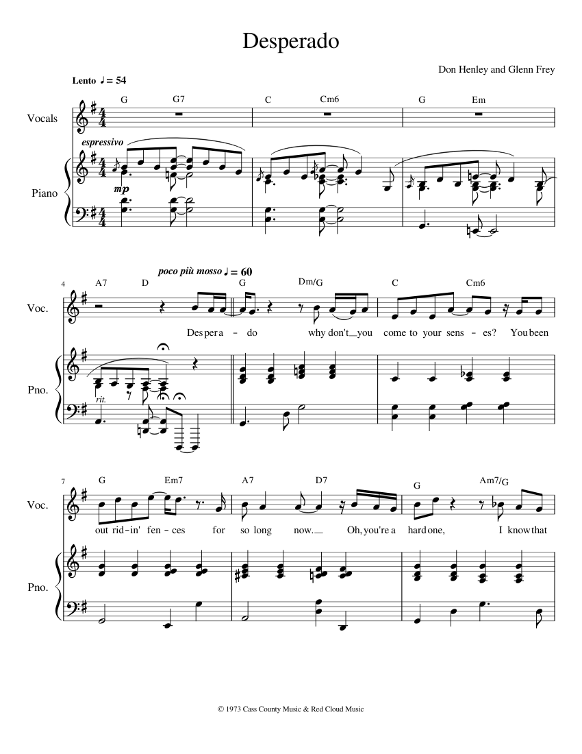 Desperado sheet music for piano, tenor saxophone download free in.