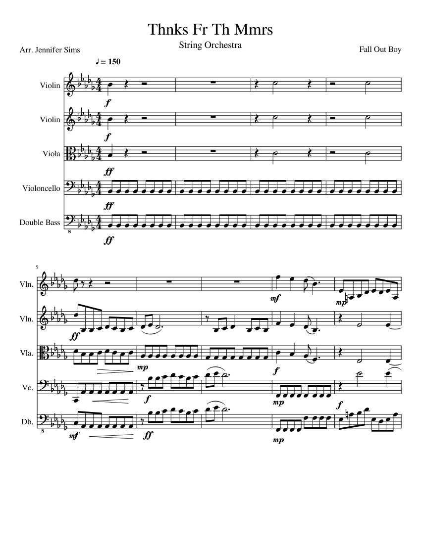 Thnks fr th mmrs sheet music for violin, viola, cello, contrabass.