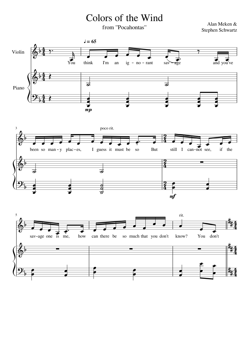 Colors Of The Wind With Lyrics Sheet Music For Violin Flute