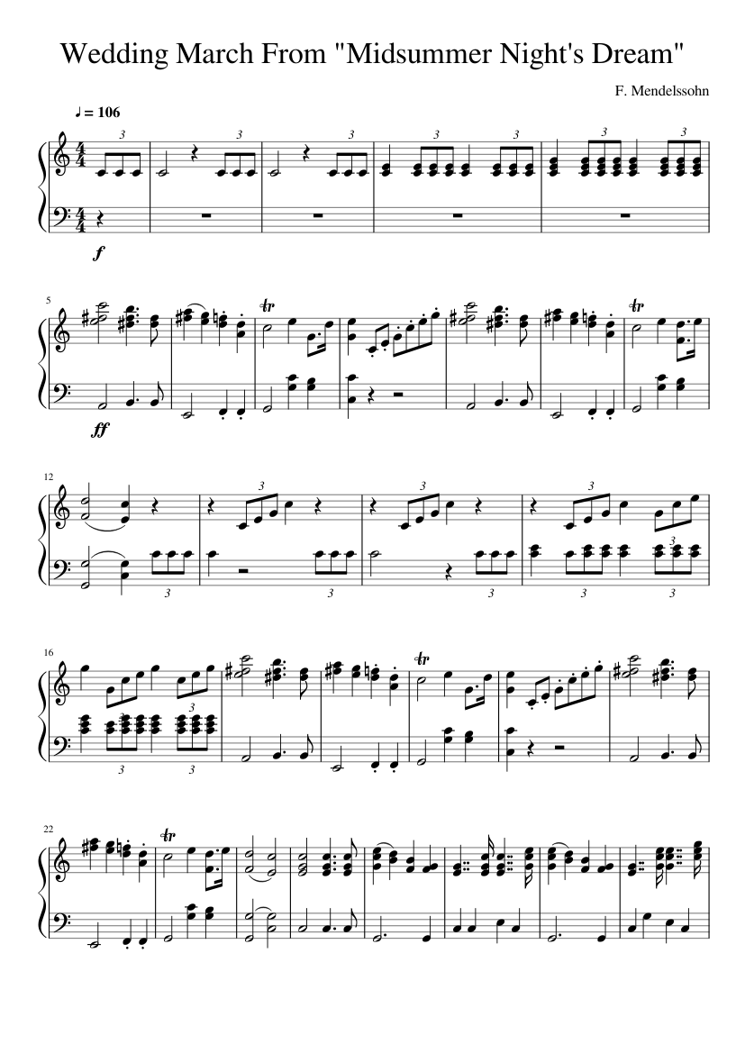 A Midsummer Night's Dream, incidental music, Op.61 by Felix Mendelssohn sheet music arranged by White Cat for Solo – 1 of 2 pages