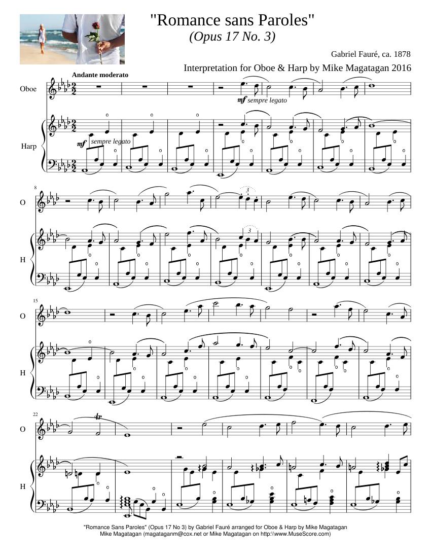 Romance Sans Paroles Opus 17 No 3 For Oboe Harp Sheet Music
