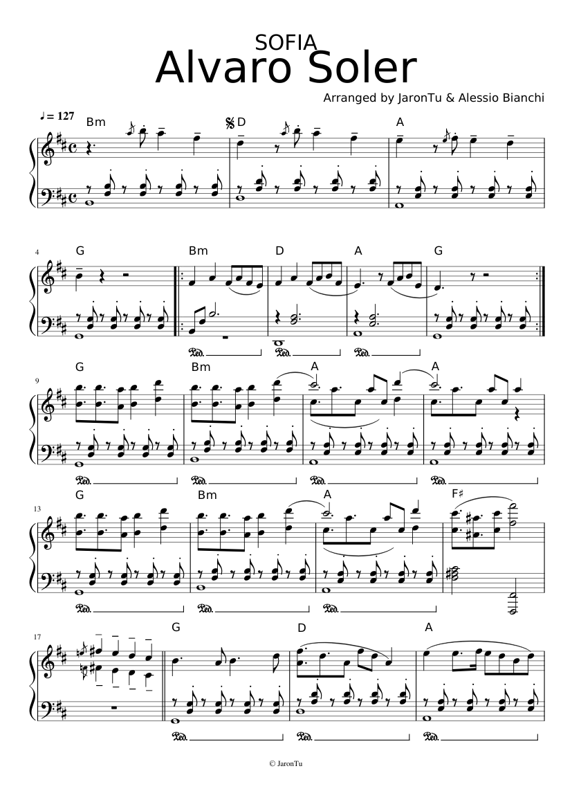 Sofia Alvaro Soler Piano Sheet Music For Piano Solo Musescore Com