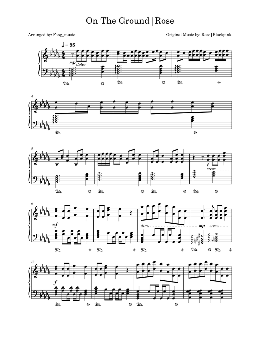On The Ground - Rosé   Piano solo by Fong_music Sheet music for Piano  (Solo)