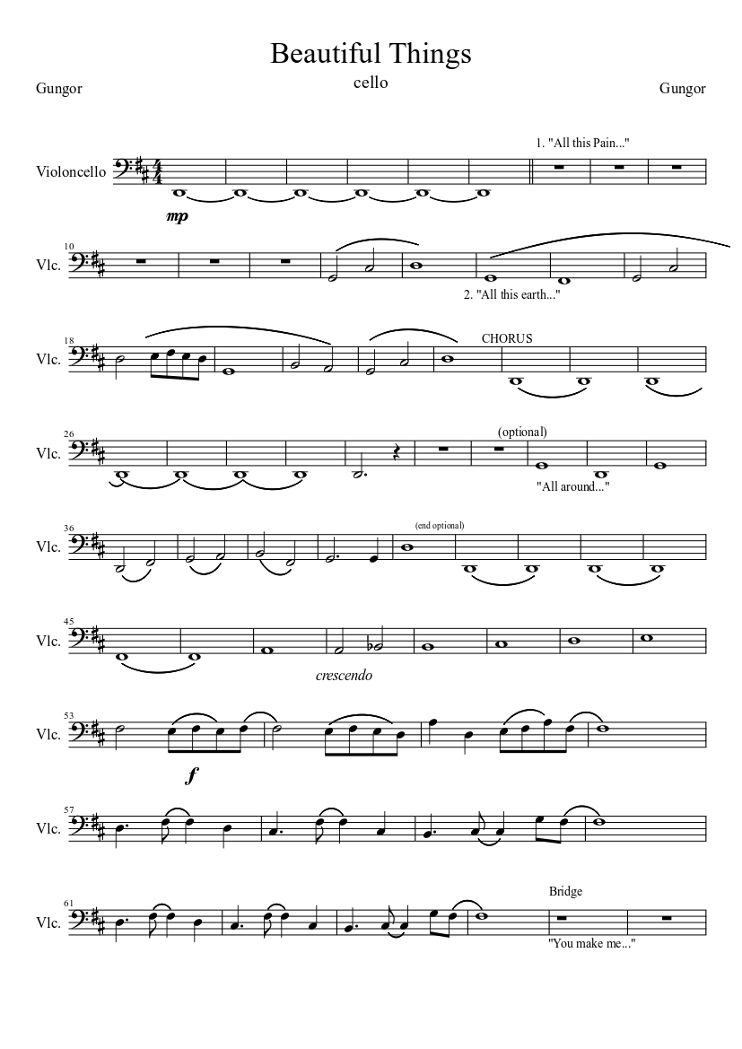 Beautiful things sheet music for piano download free in pdf or midi.