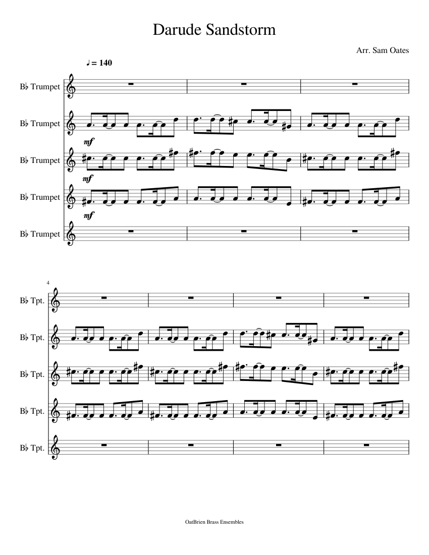 Darude Sandstorm Sheet Music For Trumpet Download Free In Pdf Or Midi