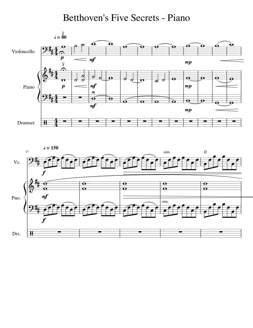 Beethovens 5 Secrets Cello Piano Sheet Music For Piano Drum Group Cello Mixed Trio Musescore Com
