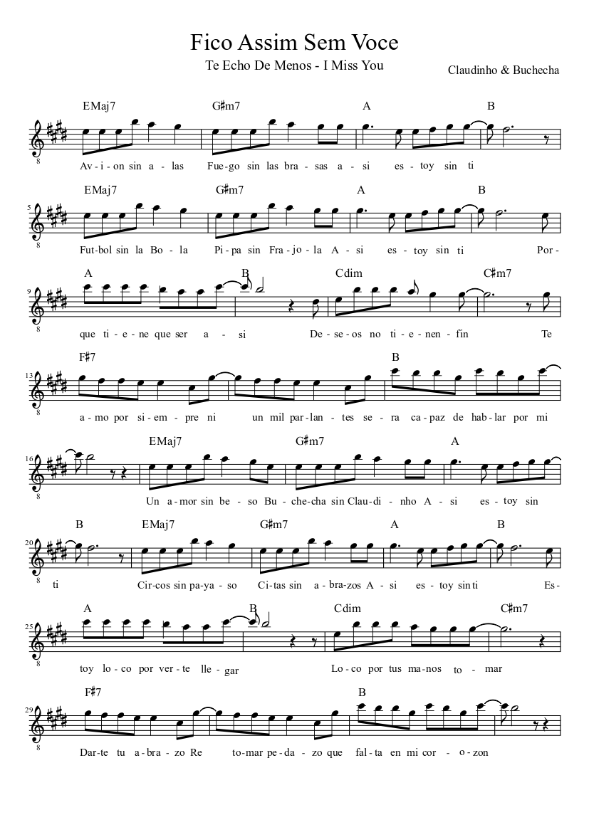 Fico assim sem voce sheet music for piano, voice, guitar, cello.