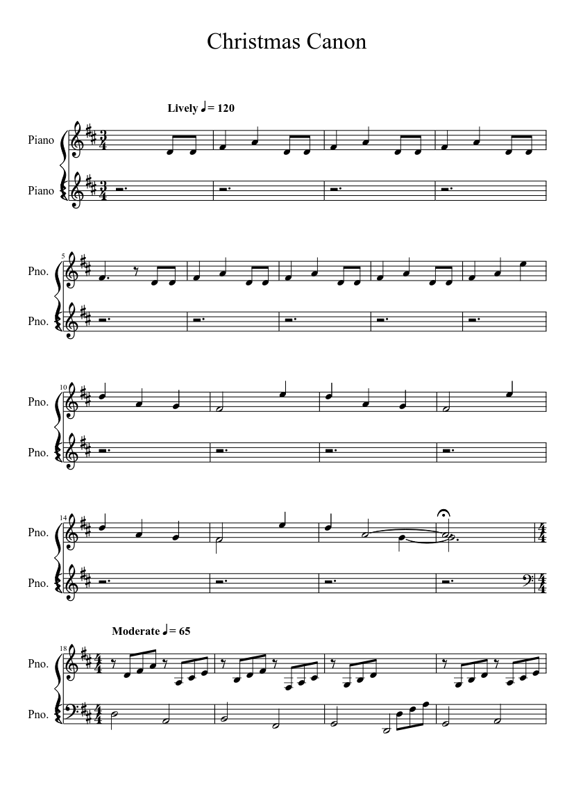 Christmas Canon (Beginner) sheet music download free in PDF or MIDI