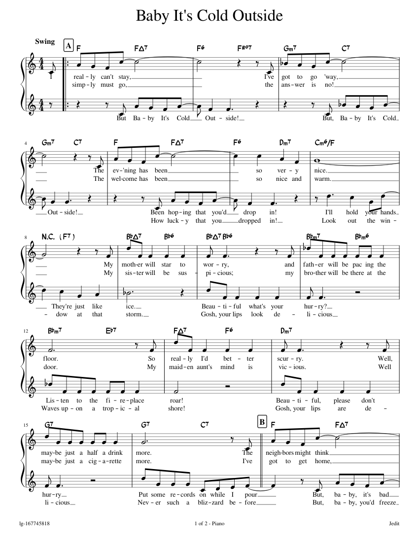 Baby It's Cold Outside Sheet music for Piano Solo   Musescore.com