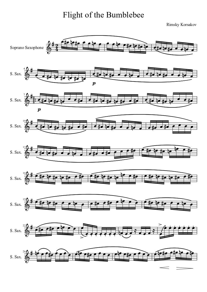 flight of the bumblebee alto sax sheet music free