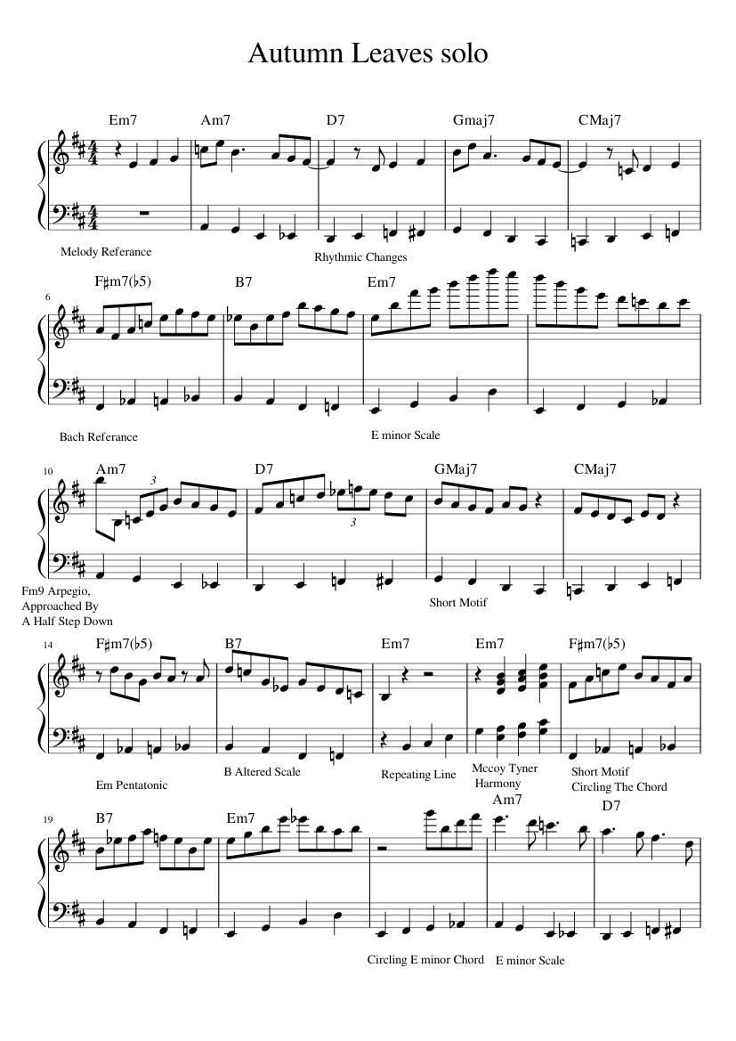 Autumn Leaves Midi music score
