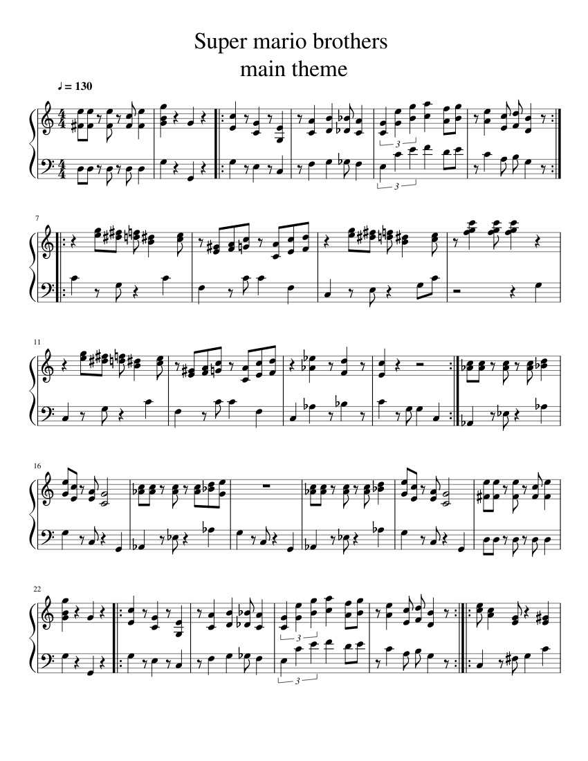 super mario bros main theme sheet music download free in pdf or midi. Black Bedroom Furniture Sets. Home Design Ideas