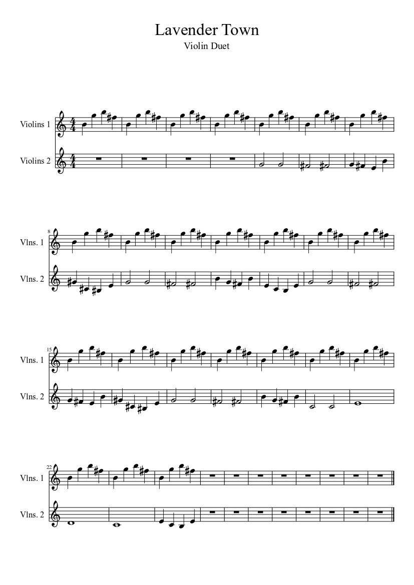 Lavender Town Violin Sheet Music Download Free In Pdf Or Midi