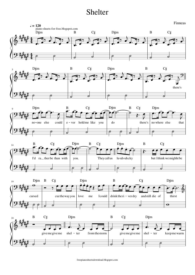 Finneas Shelter piano sheets