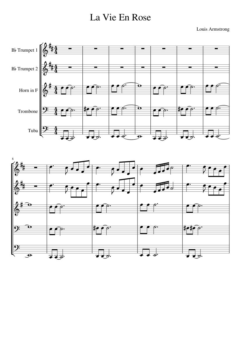 La vie en rose sheet music for tuba download free in pdf or midi.