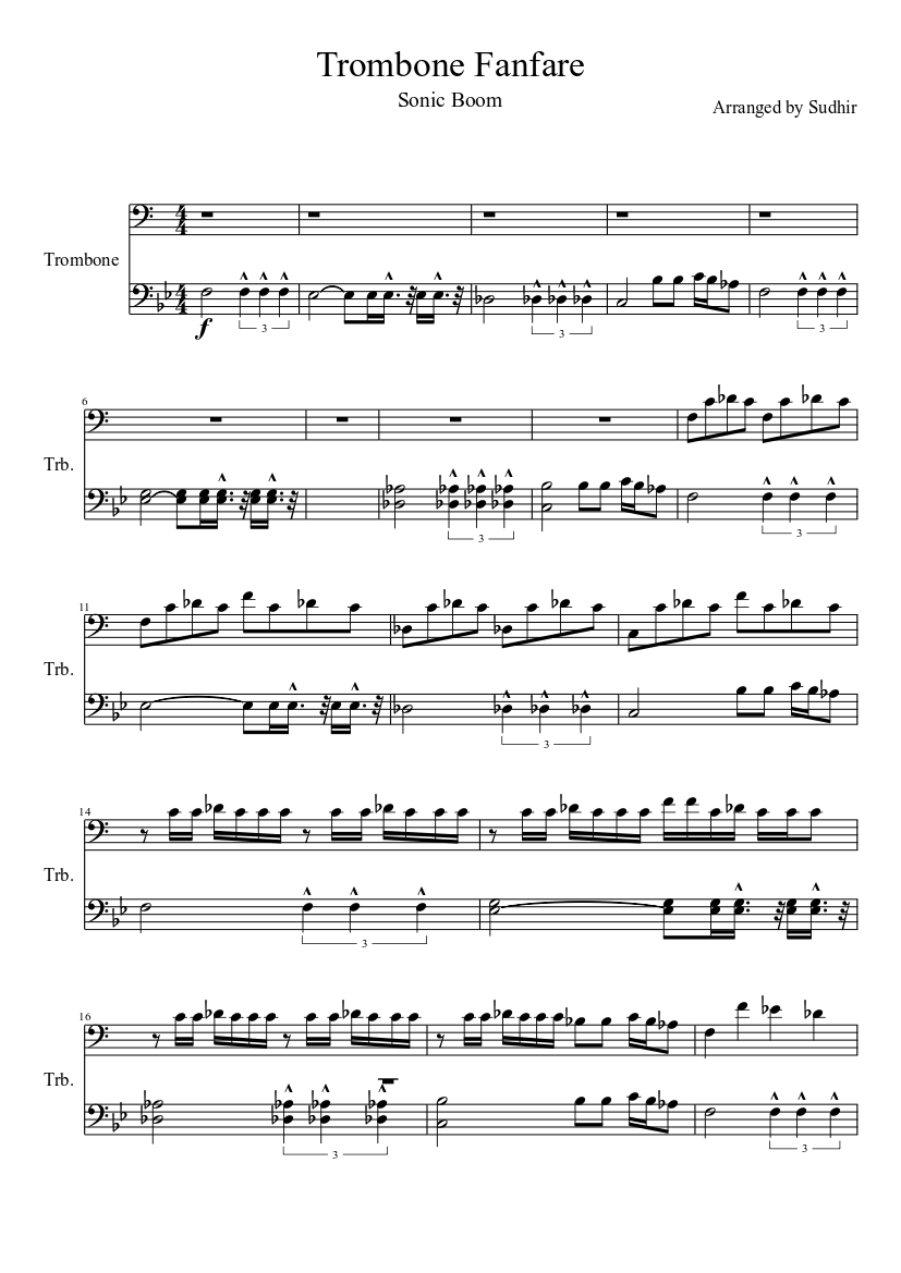 photo about Free Printable Trombone Sheet Music called Trombone Fanfare (Sonic Growth) sheet tunes down load totally free inside