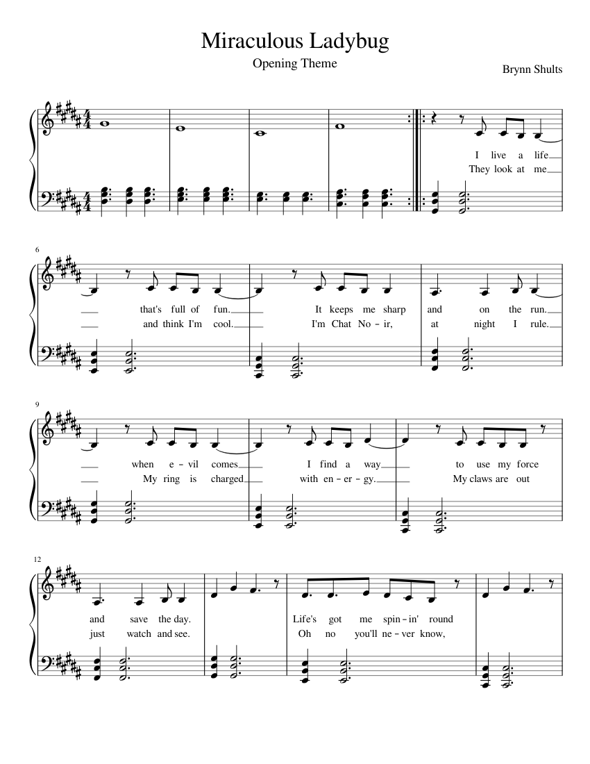 Miraculous Ladybug Sheet Music For Piano Download Free In Pdf Or