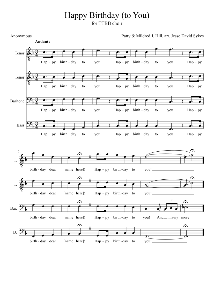 happy birthday male a cappella sheet music for voice download free