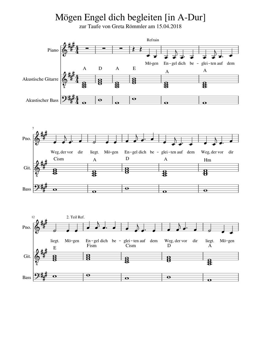 Mögen Engel Dich Begleiten Sheet Music For Piano Guitar Bass Mixed Trio Musescore Com