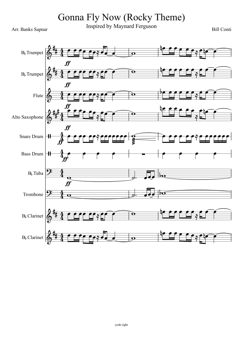 """Theme from """"rocky"""" flute sheet music download free in pdf or midi."""