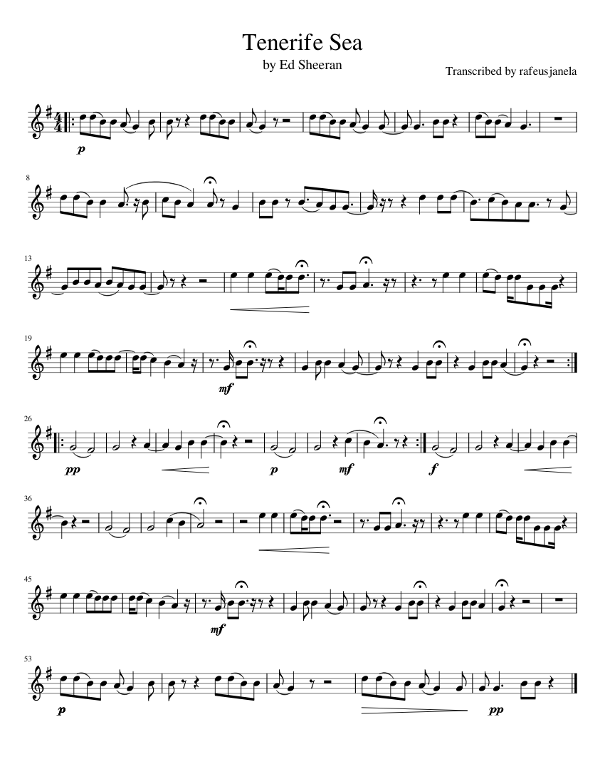 Tenerife Sea Sheet music for Violin Solo   Musescore.com