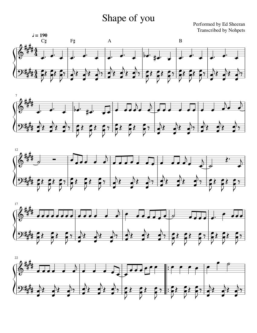 Ed Sheeran Shape Of You Sheet Music For Piano Solo Musescore Com
