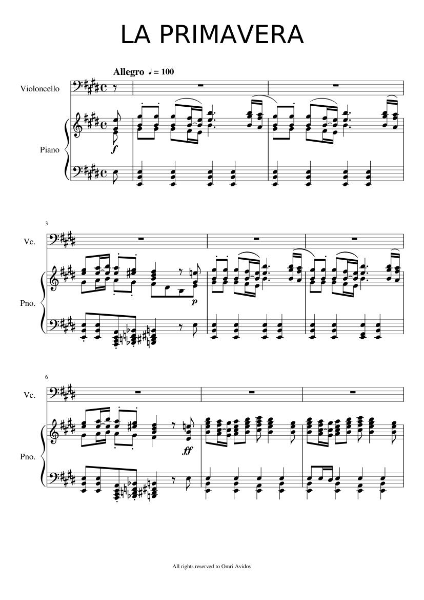 partitura pianoforte de primavera vivaldi