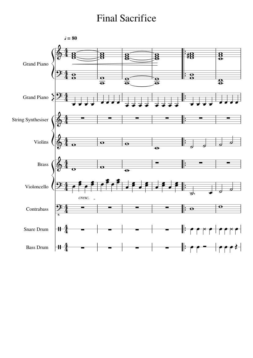 Final Sacrifice Sheet Music For Piano Strings Brass Ensemble
