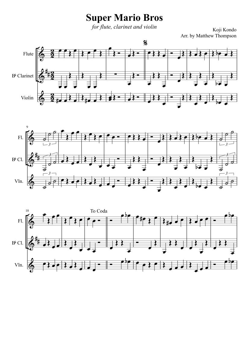 Super Mario Bros Theme Sheet Music For Violin Flute Mixed Duet Musescore Com