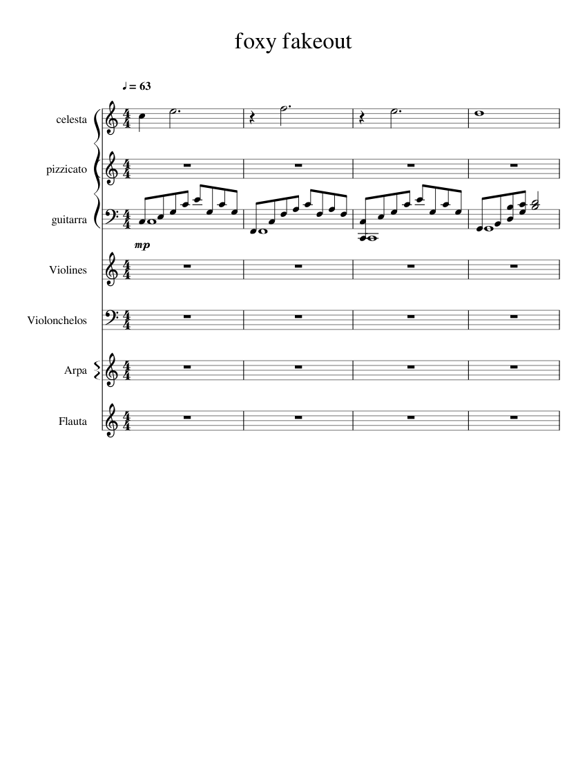 Foxy fakeout sheet music for flute, clarinet, violin, guitar.