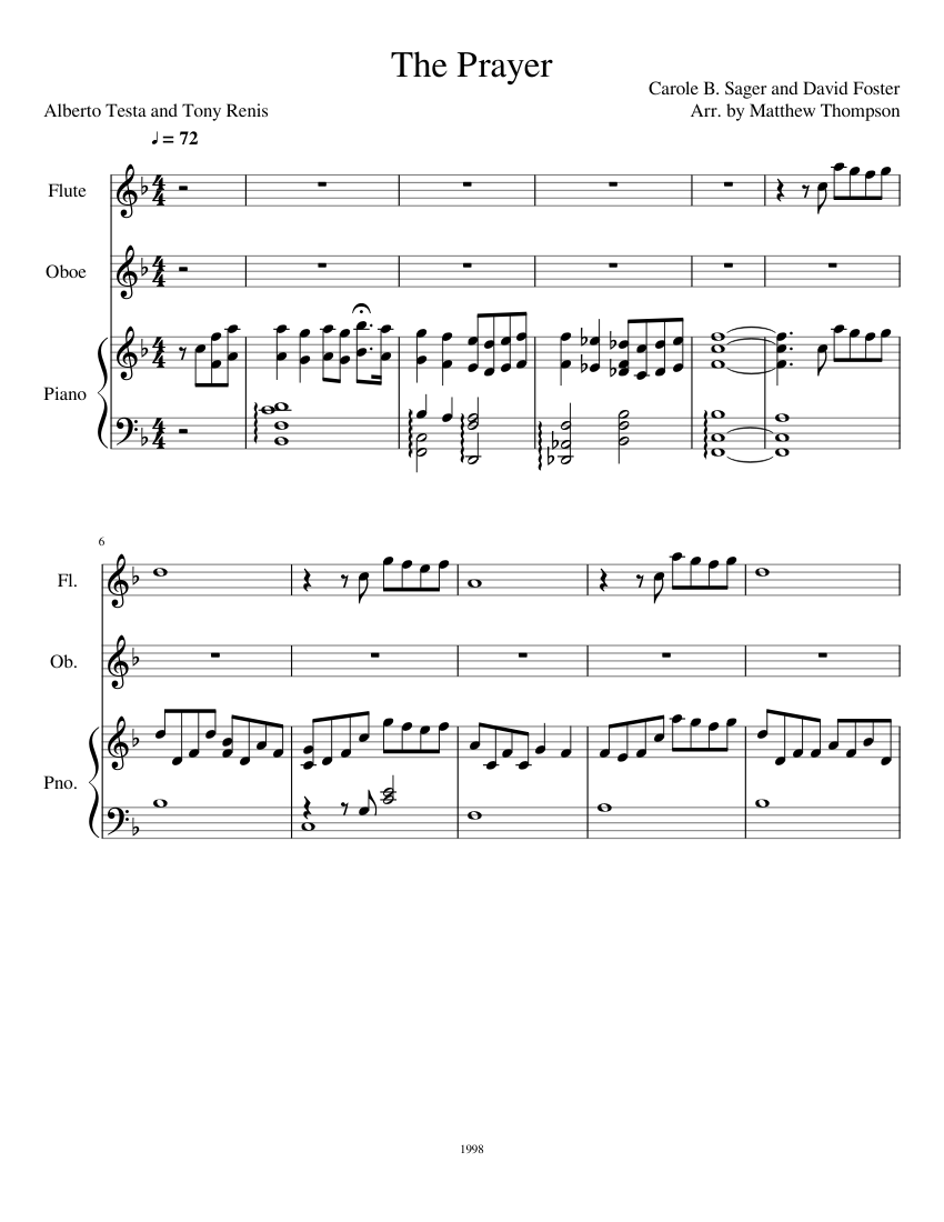 The Prayer sheet music for Flute, Piano, Oboe download free in PDF