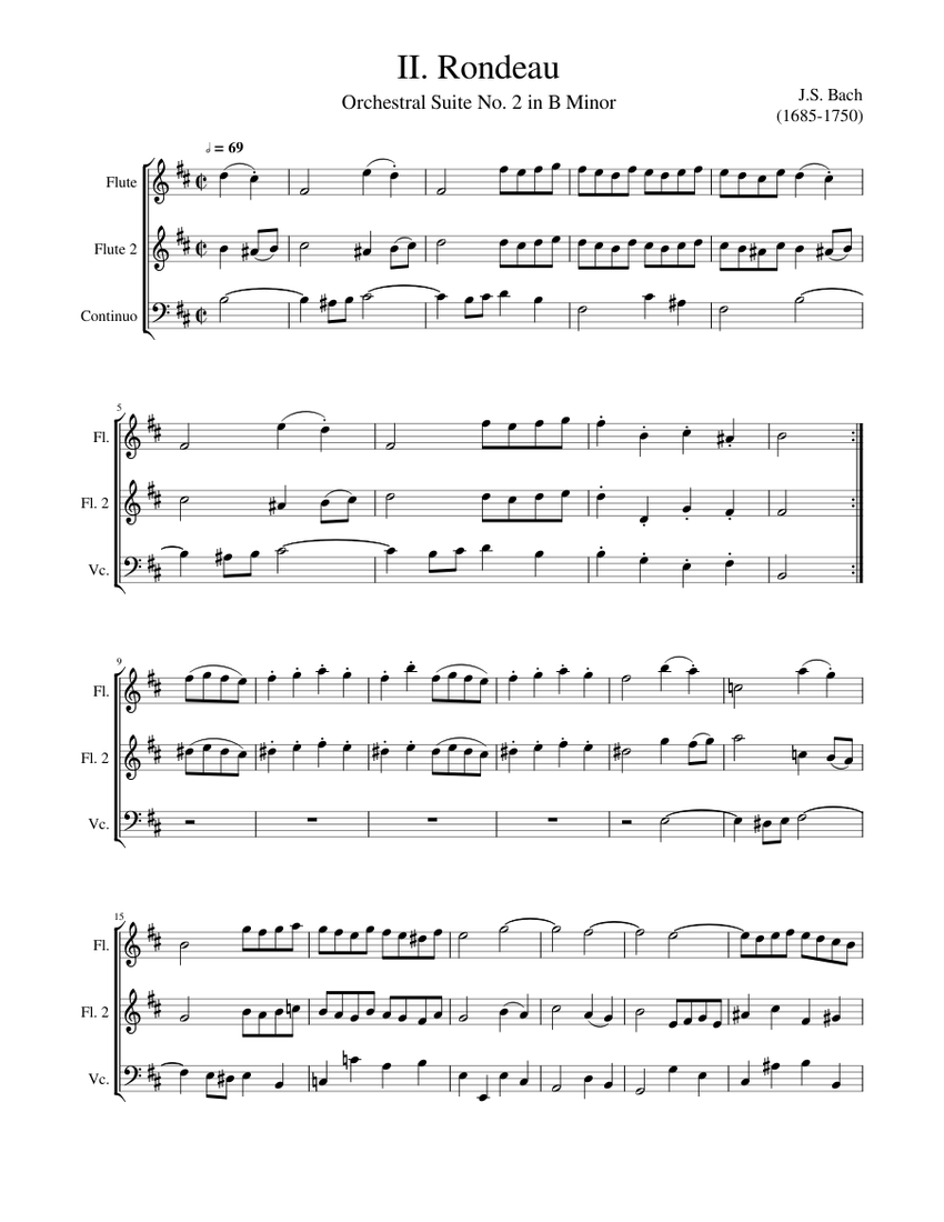 rondeau - js bach in b minor - bwv 1067 sheet music for flute, cello (mixed  trio)   download and print in pdf or midi free sheet music for orchestral  suite no.2  musescore.com