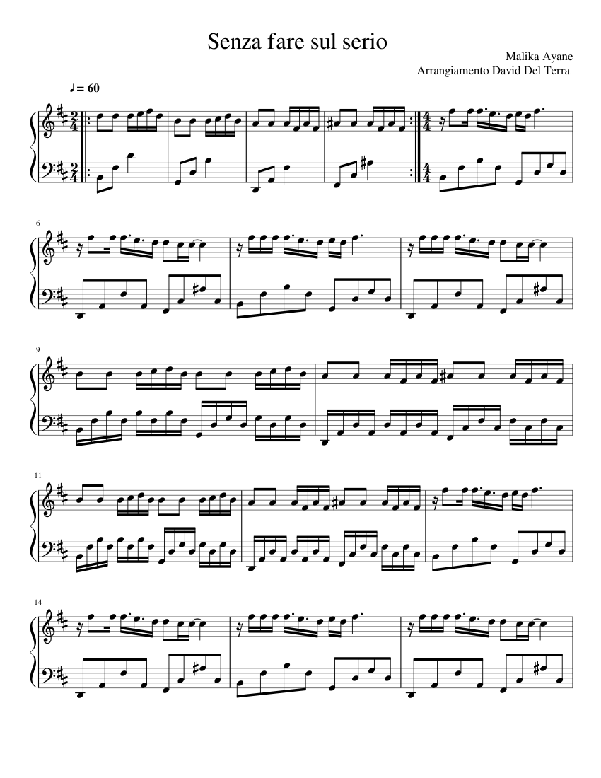 Senza Fare Sul Serio Sheet Music For Piano Download Free In Pdf Or Midi