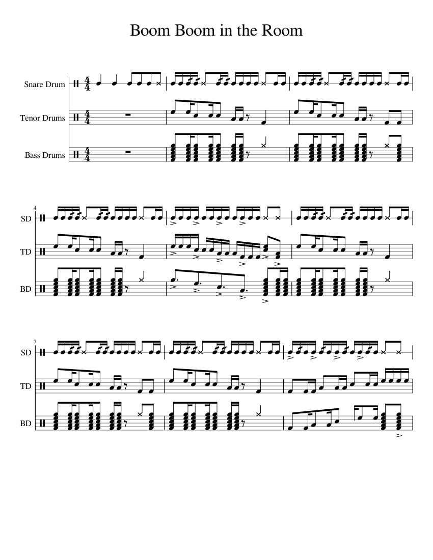 boom boom cadence sheet music for percussion download free in pdf or