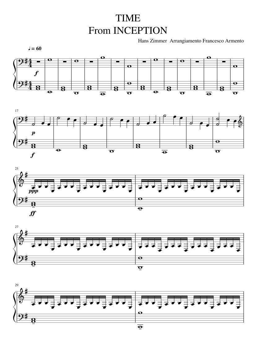 Inception time (kyle landry's arrangement) transcription +.