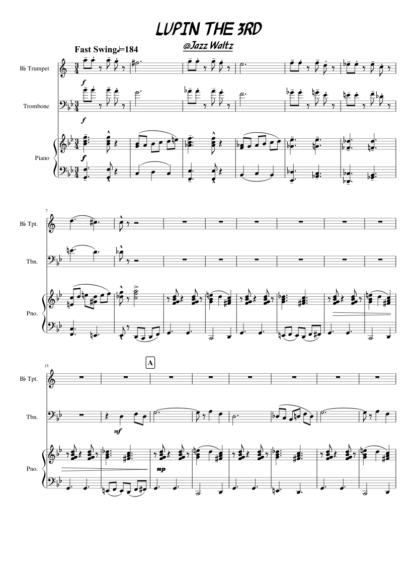 Theme from lupin the third sheet music download free in pdf or midi.