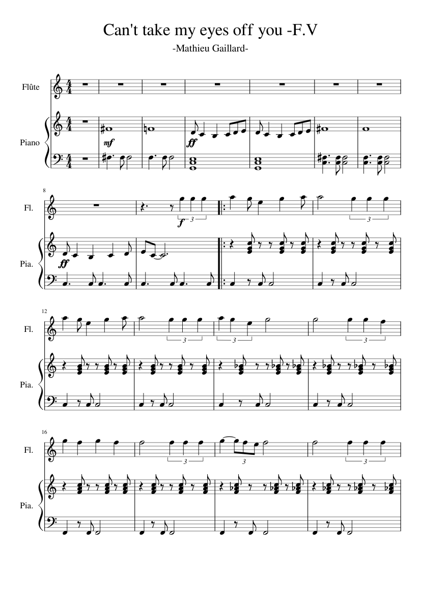 can't take my eyes off you - frankie valli sheet music for piano, flute  (solo) | musescore.com  musescore.com