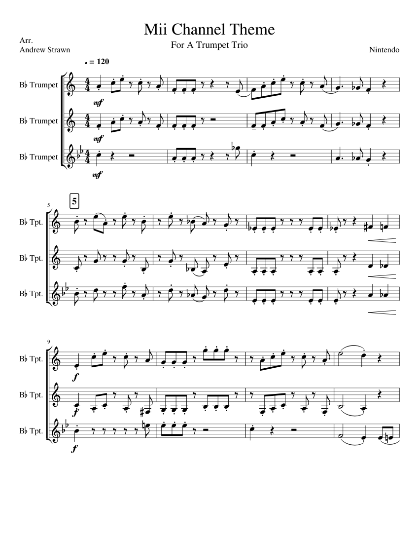 Mii Channel Theme Trumpets Sheet Music For Trumpet Download Free In