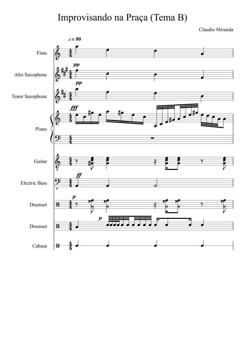 e247db4bed Improvisando na Praça (Tema B) sheet music composed by Claudio Miranda – 1  of