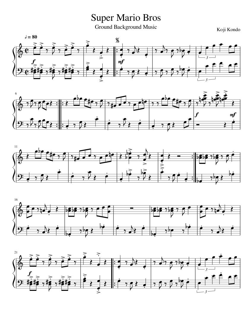 Super Mario Bros  Ground Background Music sheet music for Piano