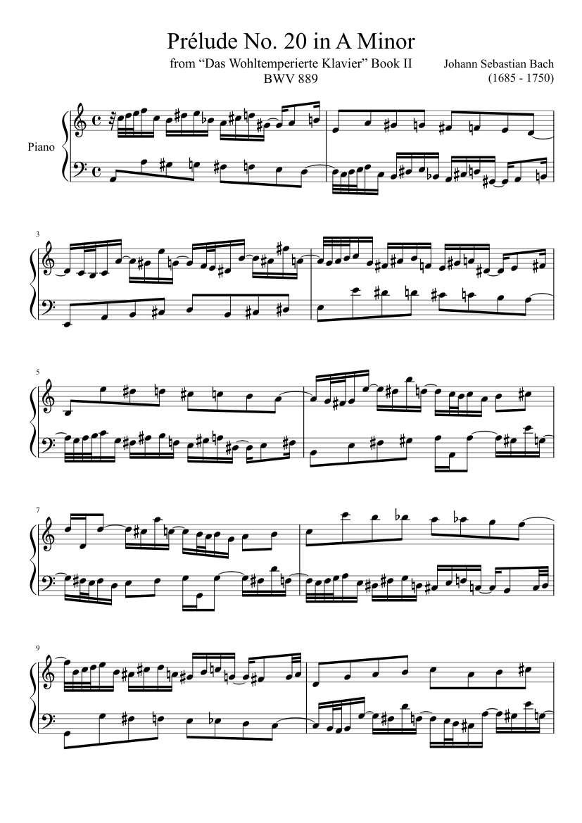 prélude no. 20 bwv 889 in a minor sheet music for piano (solo) |  musescore.com  musescore.com