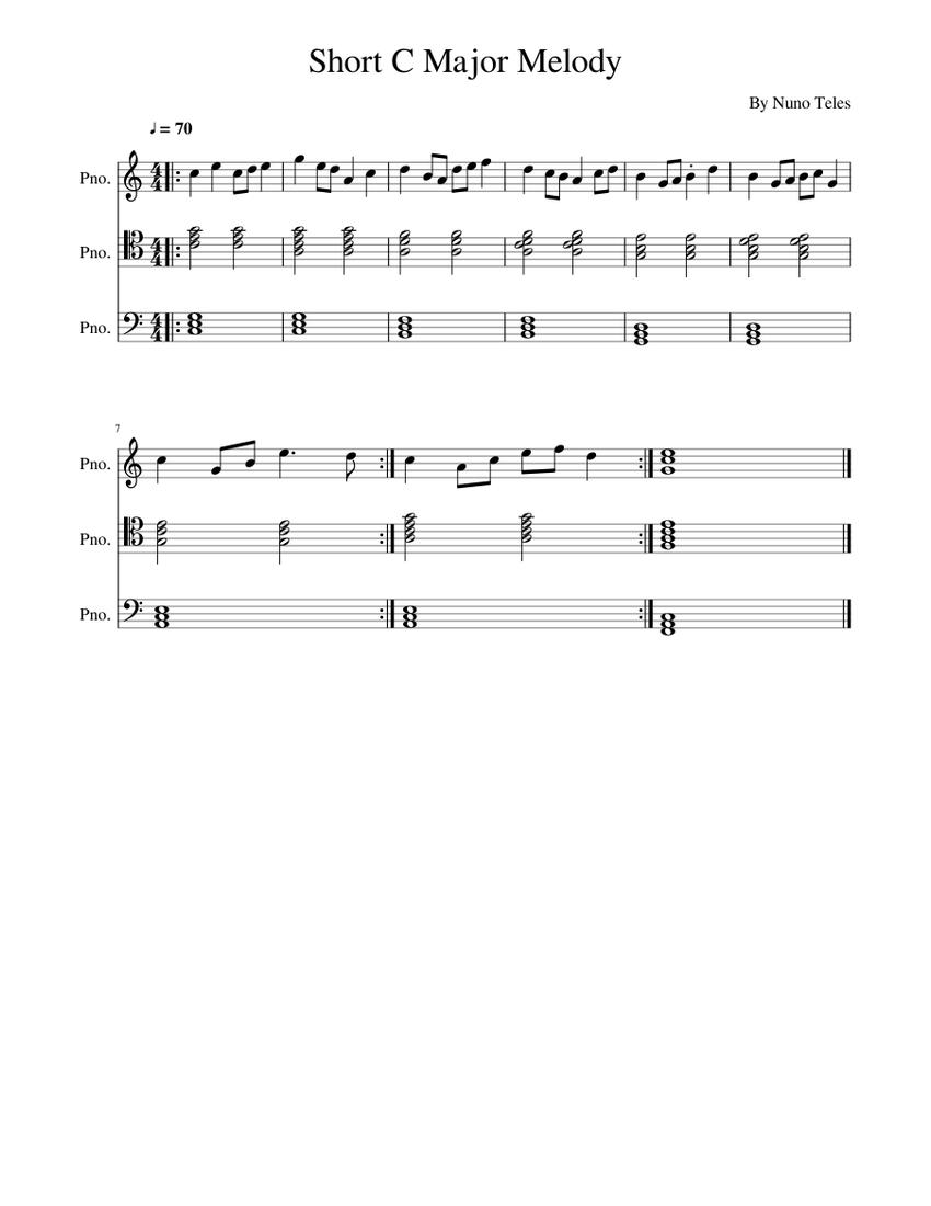 Short C Major Melody Sheet music for Piano (Solo) | Musescore.com