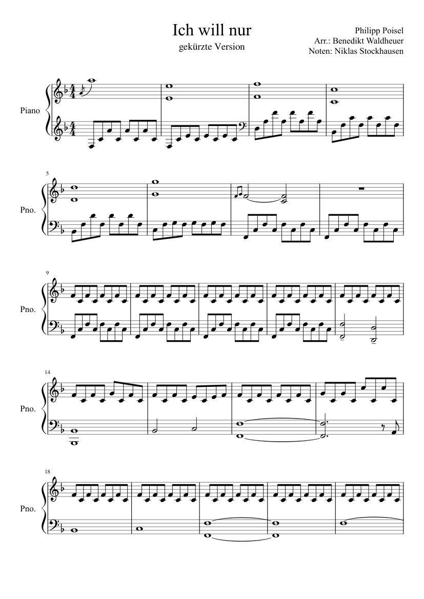 Ich Will Nur Philipp Poisel Sheet Music For Piano Download Free In