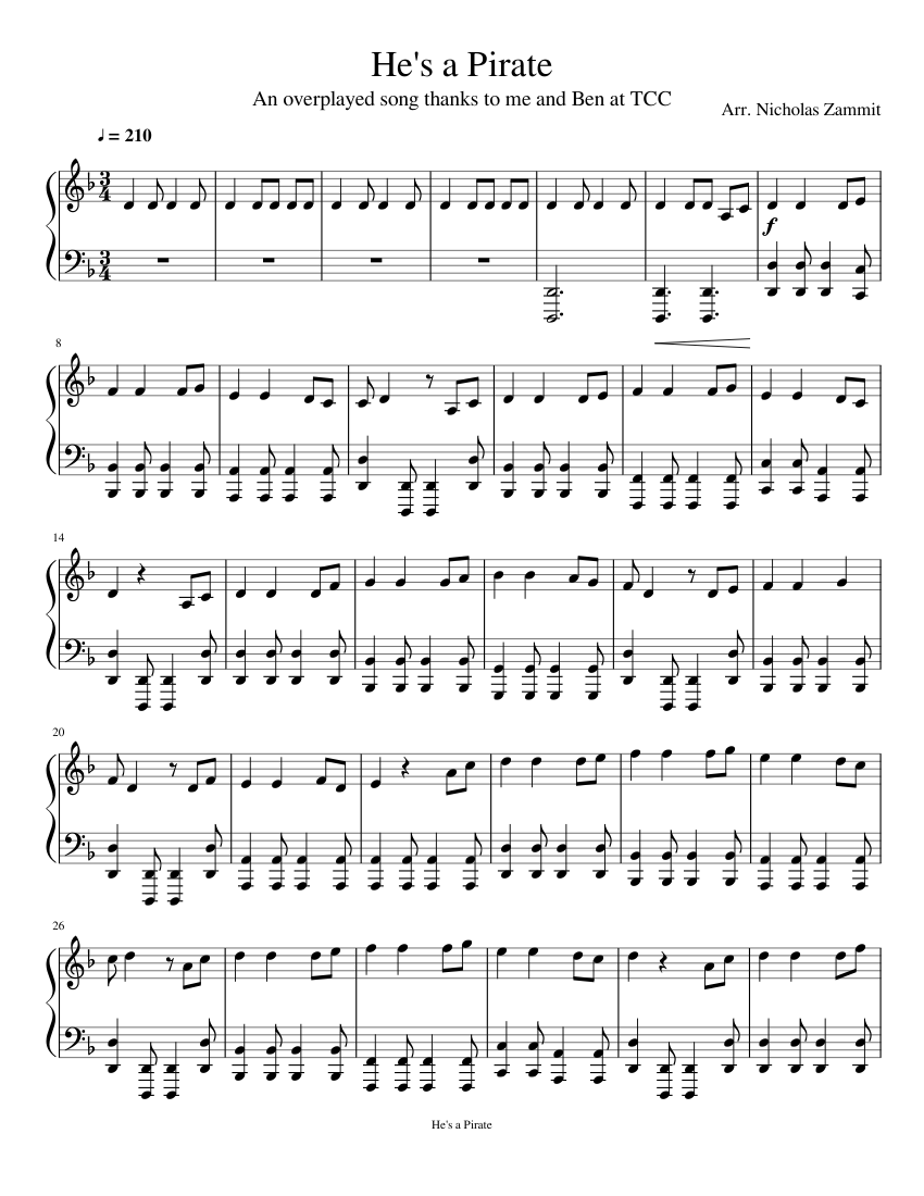 Pirates of the caribbean (accordion) sheet music download free in.