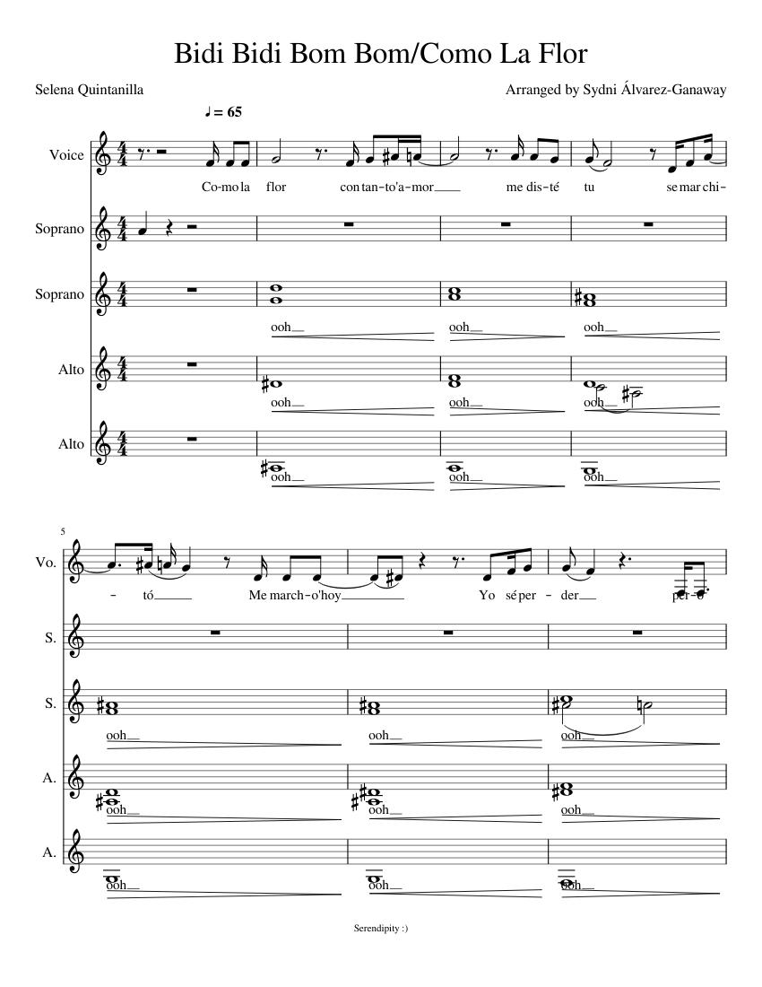 Bidi Bidi Bom Bom Como La Flor Sheet Music For Vocals Soprano Alto Choral Musescore Com