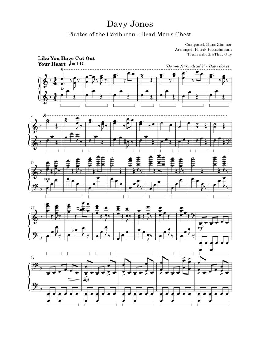 pirates of the caribbean - davy jones sheet music for piano (solo)    musescore.com  musescore.com