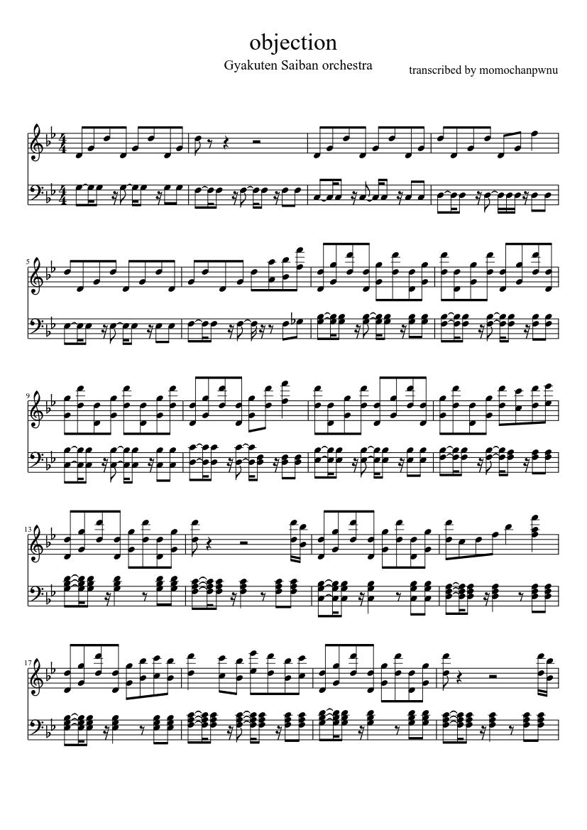 Objection Piano Ver Sheet Music Musescore Com