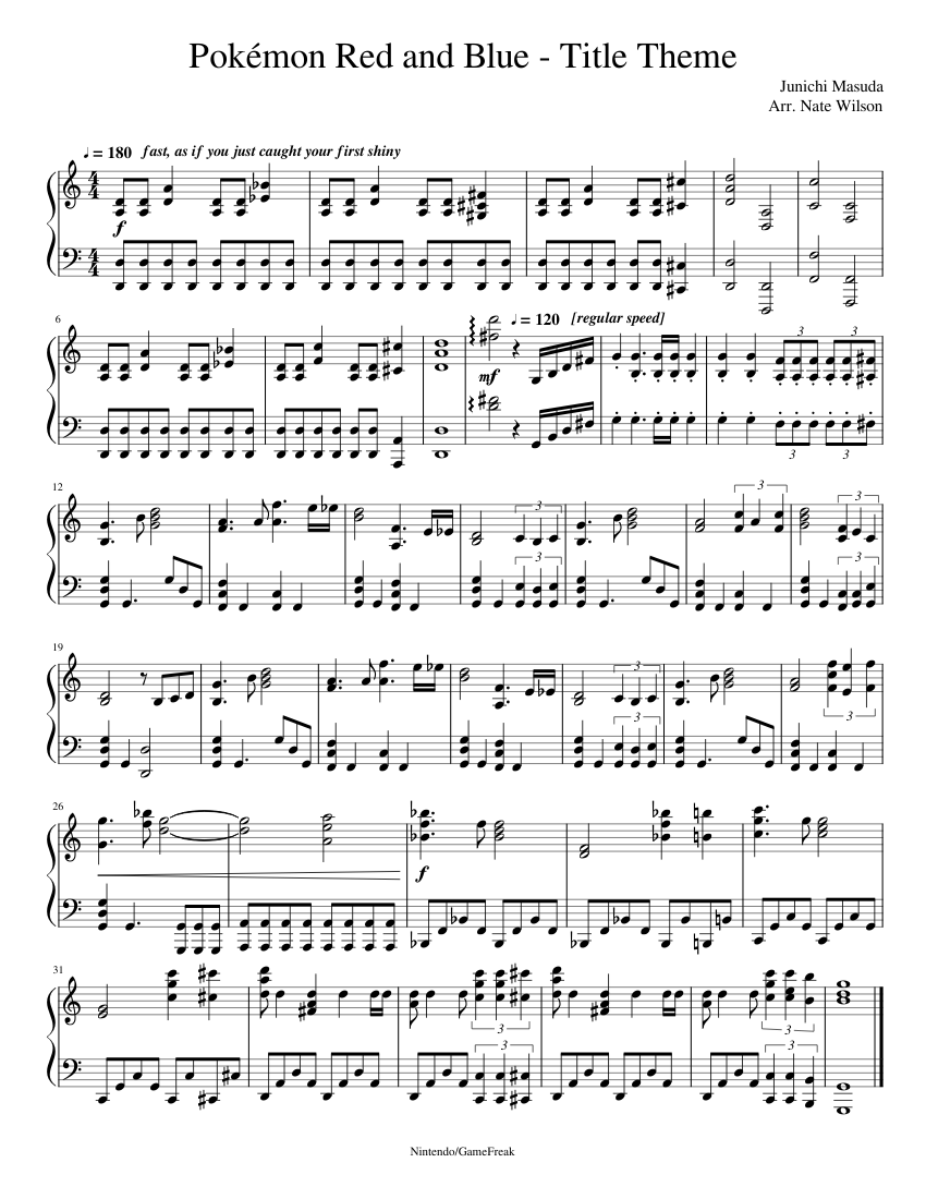 Pok?mon Red and Blue - Title Theme sheet music composed by Junichi Masuda Arr. Nate Wilson – 1 of 1 pages
